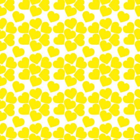 Seamless pattern with yellow watercolor hearts. Background design.