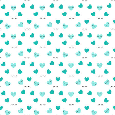 Cute seamless pattern with blue hearts. Babies Fashion. Heart seamless patter wallpaper. Vector illustration,