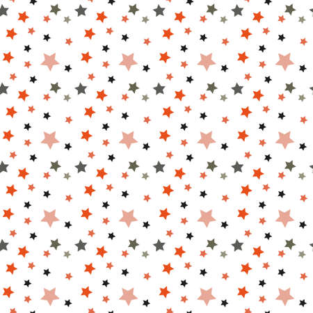 American patriotic stars seamless pattern in bright red, blue and white. Independence day vector background. Çizim