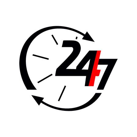 24/7 icon Illusztráció
