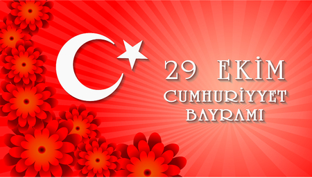 29 Ekim Cumhuriyet Bayraminiz kutlu olsun. Translation: 29 october Happy Republic Day Turkey. Greeting card design elements. Illustration