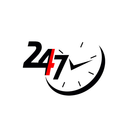 24/7.Service and support for customers. 24 hours a day and 7 days a week icon Illustration