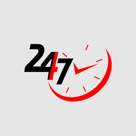 24/7.Service and support for customers. 24 hours a day and 7 days a week icon  イラスト・ベクター素材