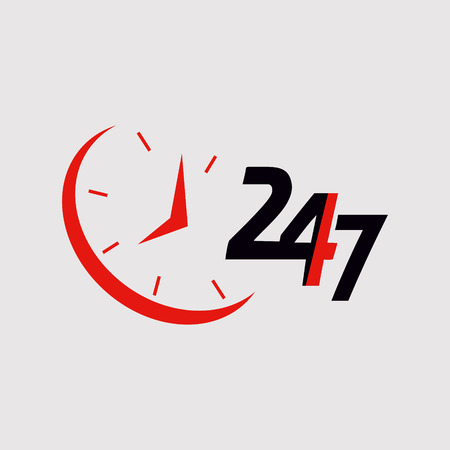 24/7.Service and support for customers. 24 hours a day and 7 days a week icon Vettoriali