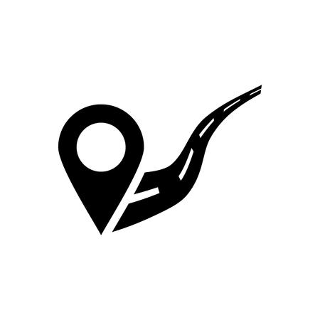 Location on road vector icon Illustration