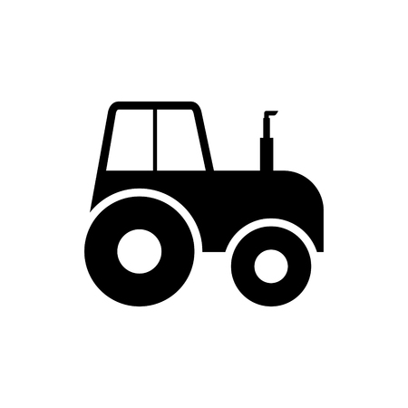 Tractor side view silhouette icon on white background.