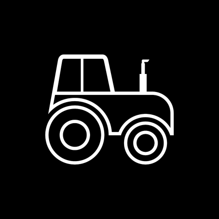 Tractor side view line icon on black background.