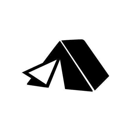 Camping tent silhouette icon on white background.