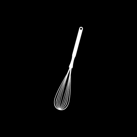 Whisk kitchen tool vector icon on black background.