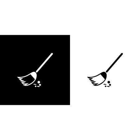 Broom �leaning vector icon isolated on plain background Vettoriali