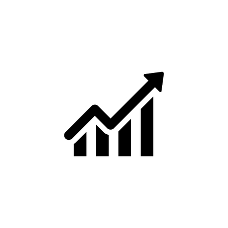 A graph and arrow vector icon isolated on plain background