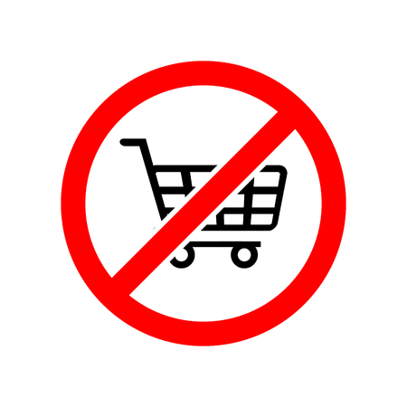 Forbidden sign shopping cart vector icon Ilustrace