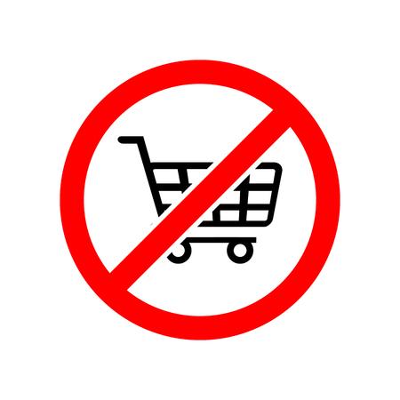 Forbidden sign shopping cart vector icon Vectores
