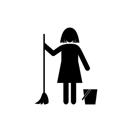 Silhouette of a woman with map and bucket icon.