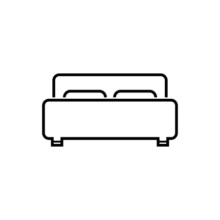 Isolated white bed vector icon. Illustration