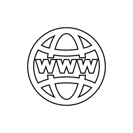 Outline of world internet on grid vector icon.