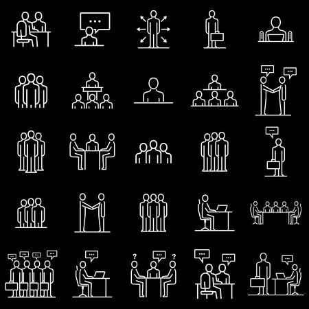 Set human resources department. Business people icon simple line flat illustration.Vector icon Stock Illustratie