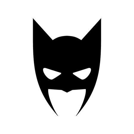 Portrait of angry man in superhero mask vector icon