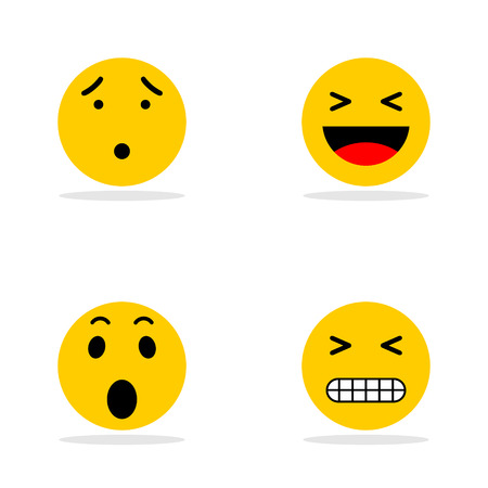 A set of smileys. A crusty, happy, angry face. Yellow face with emotions. Facial expression