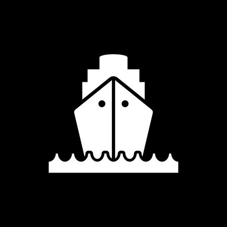 Cargo ship at sea front view vector icon