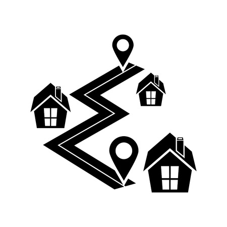 Navigation map with gps vector icon Illustration