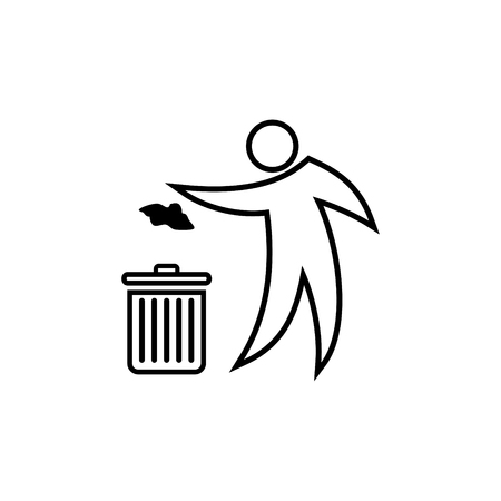Person throwing paper to a trash vector icon