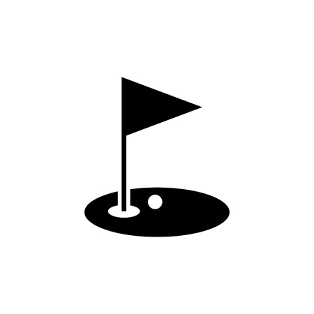 Golf hole and flag vector icon Illusztráció