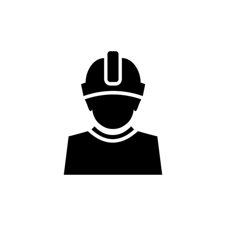 Constructor with hard hat protection on his head vector icon