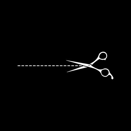 Scissors with cut out vector icon