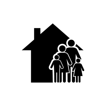 Family of four vector icon