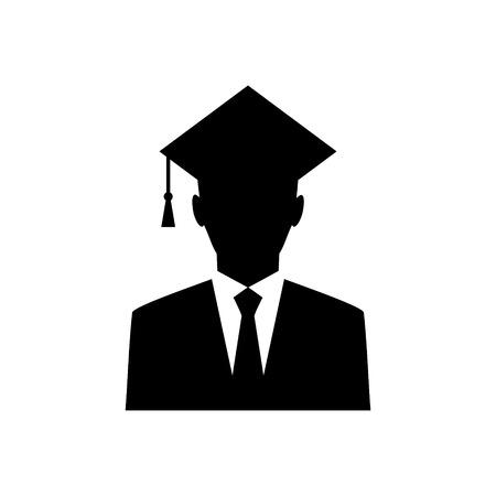 Icône de vecteur de diplômé universitaire masculin