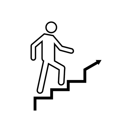 Man climbing stairs vector icon
