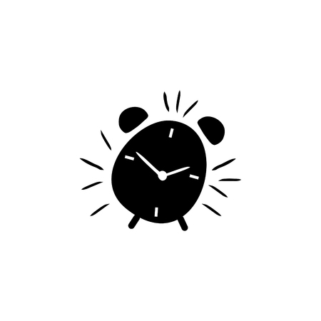 Alarm clock hand drawn outline vector icon 免版税图像 - 110105561