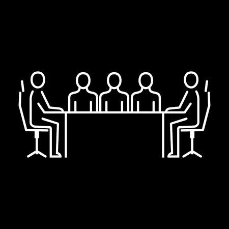Afdeling personeelszaken. Mensen uit het bedrijfsleven pictogram eenvoudige lijn vlakke afbeelding. Vector pictogram