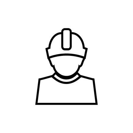 Constructor with hard hat protection on his head vector icon 向量圖像
