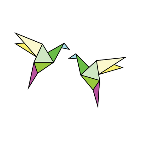 Origami Bird vector icon Illustration