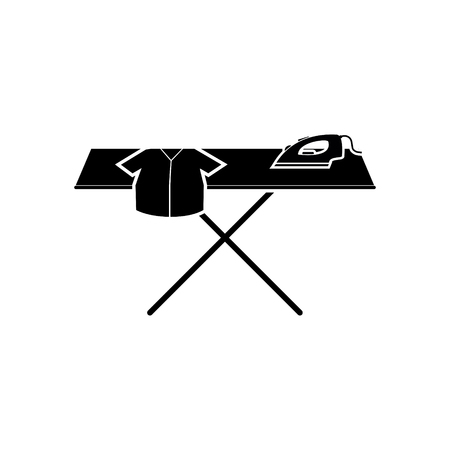Ironing board with cloth and iron vector icon