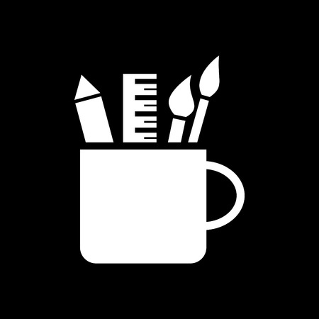 Pencil cup holder vector icon Illustration