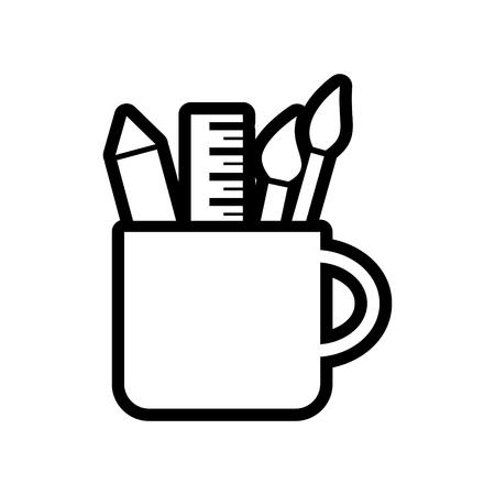 Pencil cup holder vector icon Vector Illustration