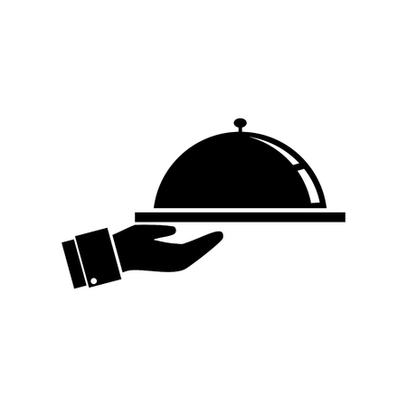 Food tray on a hand of hotel room service. vector icon