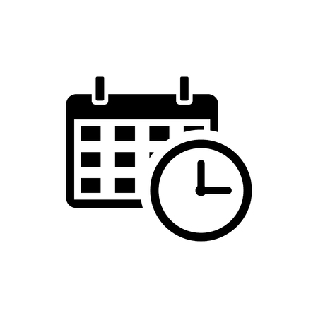 Calendar with a clock time tools vector icon Illustration