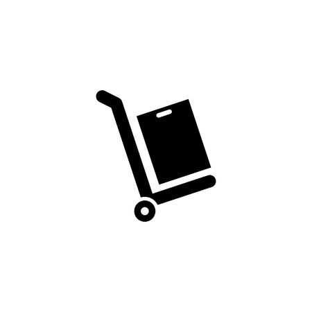 Box package on a cart vector icon Illustration