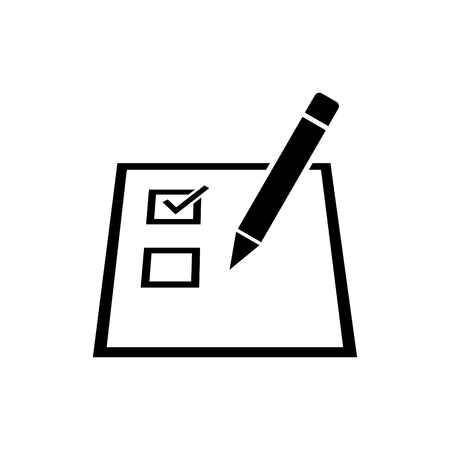 Checklist on a paper with a pencil vector icon