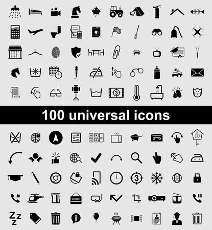 Set 100 universal vector icons Illusztráció