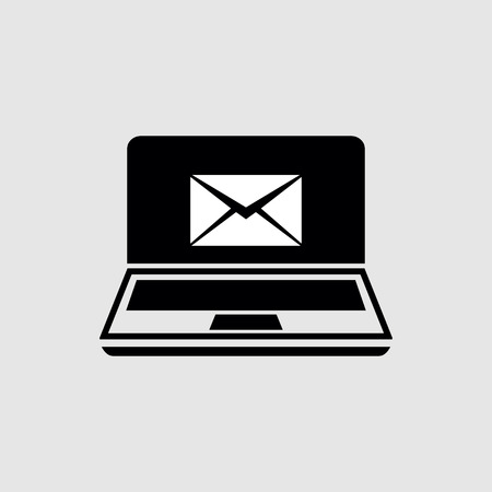 Laptop with emails vector icon 矢量图像