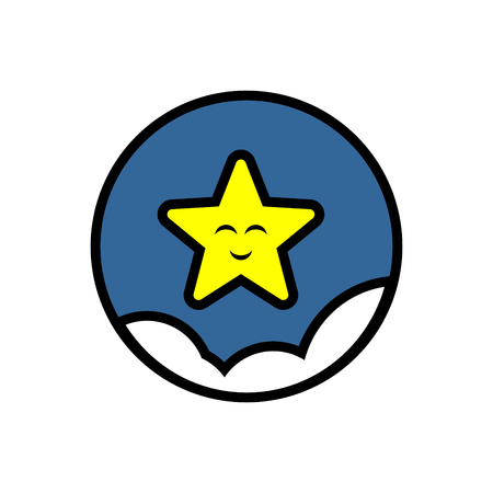 Smiley star sky clouds vector icon