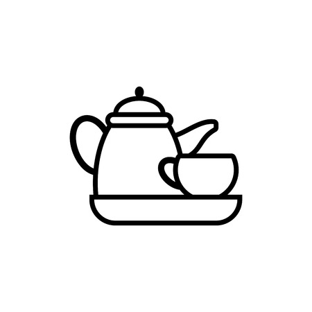 Kettle glass tea vector icon
