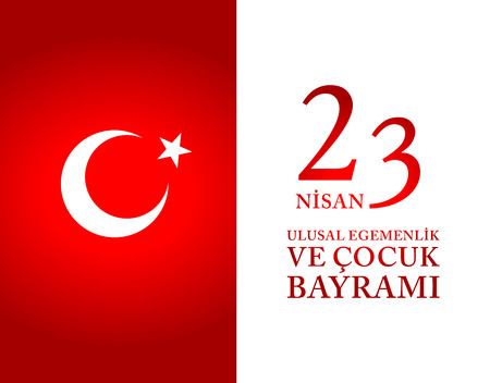 23 April Children's day Turkish Speak: 23 Nisan Cumhuriyet Bayrami. Vector Illustration Stok Fotoğraf - 124133113