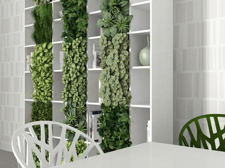 green plants: Interior scene with table and bookshelf Stock Photo