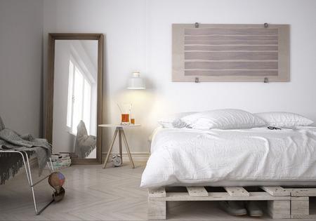 Interior design: minimal bedroom.